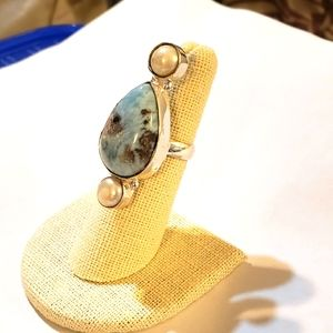 Handmade Caribbean Larimar Pearl Gem 925 Ring